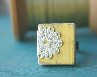 Cottage Chic Ring Lace Doily Boho Design Scrabble Tile Adjustable  - Country Lemon.