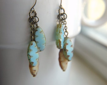 Boho Chic Dangle Earrings Light Turquoise & Tan Etched Czech Glass  - Hot Spring.