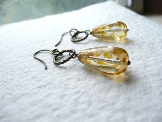 Dangle Drop Earrings Bohemian Cottage Chic Honey Yellow  Czech Glass  - Crystal Picasso