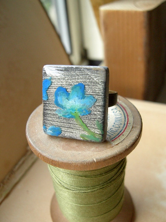 Floral Ring Silver and Blue Original Wearable Art Adjustable Band - Wildflower - Nickel Free.