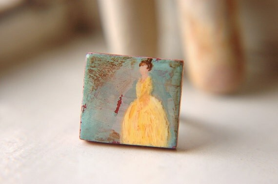 Colonial Lady Ring Canary Yellow Hand Painted Adjustable Scrabble Tile - Lady in Yellow.