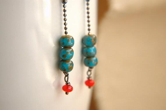 Modern Dangle Earrings Bright Czech Glass Beaded Sparkly Chain  - Miss Firecracker.