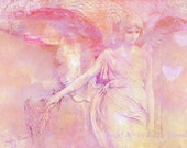 Angel Photos Note Cards, Ethereal Pink Angel Wings Heart Card, Angel Photography Notecards, Dreamy Pink Angel Art Prints, Angel Photography