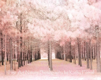 Pink Nature Photography, Baby Girl Nursery Decor, Dreamy Pink Trees Woodlands, Pink Baby Girls Room Nursery Art, Pink Fairytale Nature Woods