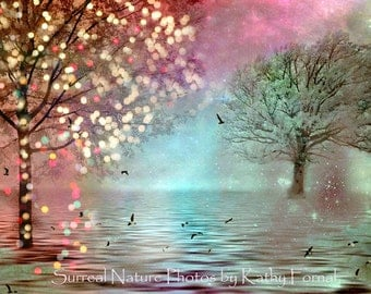 Nature Photography, Sparkle Fairy Lights Nature Trees Art, Dreamy Fantasy Nature Print, Surreal Nature, Twinkle Lights Trees Fine Art Photo