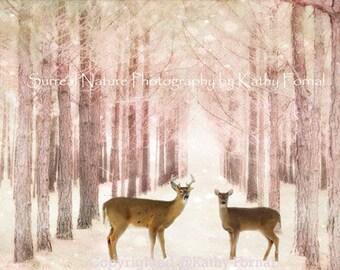 Deer Photography, Woodland Deer Nursery Art, Deer Woodland Nature Wall Art Print, Baby Girl Nursery Decor, Pink Nature Deer Woodlands Prints