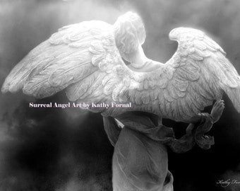 Angel Photography, Surreal Ethereal Angel Prints, Angel Wings Art Decor, Black and White Photography, Angel Art Photography Prints Wall Art