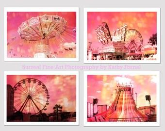 Carnival Prints, Ferris Wheel Carnival Prints, Hot Pink Carnival Prints, Kids Room Decor, Carnival Rides Cotton Candy Stand Wall Art Prints