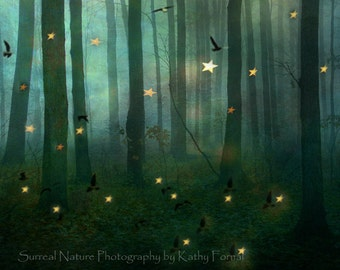 Nature Photography, Fairy Lights Green Woodlands, Twinkling Stars Birds Fantasy Print, Sparkling Fairytale Green Nature Woodlands Wall Print