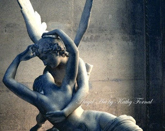 Paris Photography, Eros and Psyche, Paris Angel Art Photos, Romantic Paris Louvre Art Sculpture, Eros and Psyche, Cupid and Psyche, The Kiss