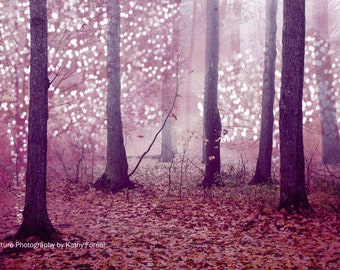 Nature Photography, Mauve Pink Woodlands Fairy Lights, Fantasy Nature Trees Print, Dreamy Pink Fantasy Woodland, Baby Girl Nursery Decor Art