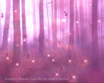Pink Lavender ature Prints, Baby Girl Nursery Decor, Fantasy Woodlands, Pink Lavender Nature Fairy Lights, Surreal Pink Nature Photography