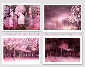 Surreal Nature Photography, Sparkling Pink Fairytale Woodlands, Pink Fairy Lights Trees Wall Art, Pink Mauve Fantasy Nature Woodlands Prints