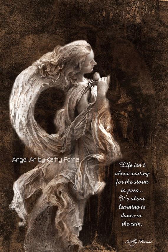 Sale angel art print spiritual art sepia inspirational for Angel paintings for sale