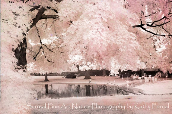 Pink Nature Photography, Dreamy Pink Nature Print, Pastel Baby Girl Nursery Decor, Fairytale Trees, Pink Flamingos, Girls Room Pink Nature