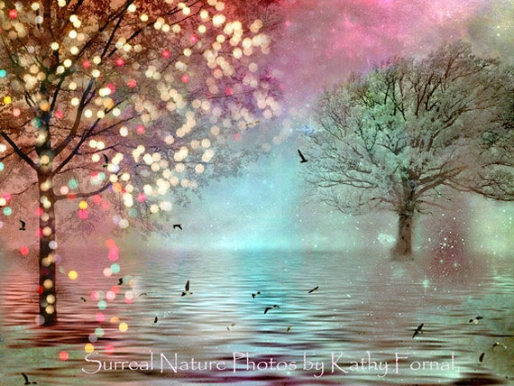 Fantasy Nature Fairy Lights, Pink Aqua Teal Twinkling Fairy Lights, Aqua Teal Fairytale Woodlands, Baby Girl Nursery Art, Nature Photography