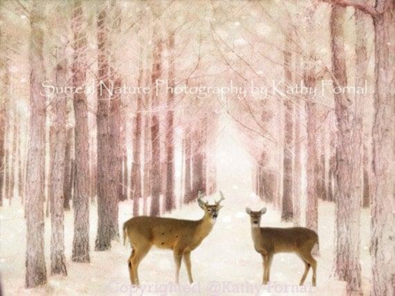 Deer Photography, Woodland Deer Nursery Art, Deer Woodland Nature Wall Art Print, Baby Girl Nursery Decor, Pink Nature Deer Woodlands Prints