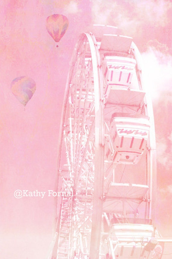 Pink Carnival Ferris Wheel Photo, Dreamy Baby Pink Carnival Art, Baby Girl Nursery Decor, Pink Nursery Prints, Baby Pink Hot Air Balloon Art