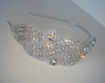 Rhinestone Headband, crystal headband, Wedding Headpiece, bridal headband, bridal headpiece, Wedding Accessory, Wedding, Accessories-SIREN