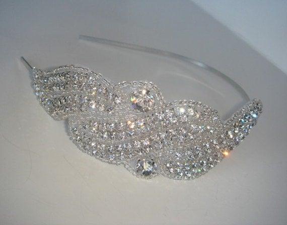 Rhinestone Headband, crystal headband, Wedding Headpiece, bridal headband, bridal headpiece, Wedding Accessory, Wedding, Accessories-SIREN