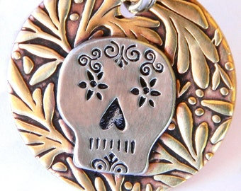 Day of the Dead Handmade Pet Tag, Dog Tag in Silver & Bronze - Sugar Skull Design