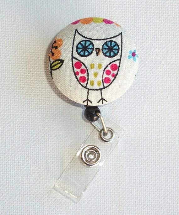 Retractable ID Badge Holder Reel  - Fabric Button - Cutie hooty - owl