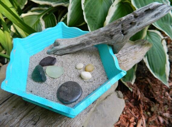 Relaxing  Zen Garden with Natural Beach Treasures One of a Kind Home  Decor