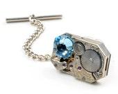 Steampunk Antique Gruen Watch n Aqua Crystal Tie Tack Pin Chain Clip