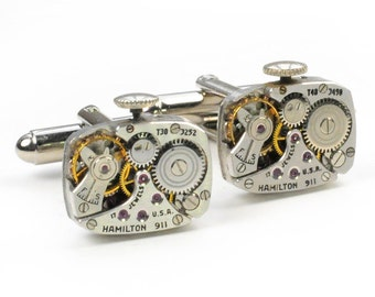 1940's Hamilton Watch Movement Steampunk Cuff Links
