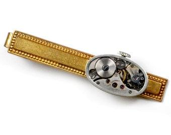 Steampunk Antique Watch Movement Brass Tie Bar Alligator Clip