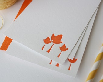 Personalized Note Cards - Personalized Stationery - Letterpress Tulips - Set of 6