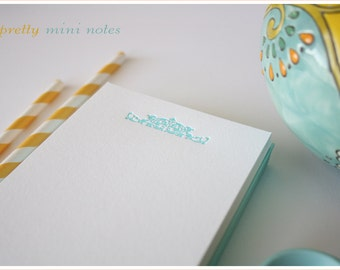 Letterpress Personalized Stationery - Personalized Blank Note Cards : Blue Motif - Set of 25