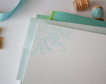 Flower Cluster Letterpress Notecards with Decorative Envelopes - Set of 50