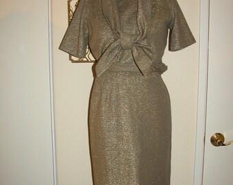60s Midas Touch Gold Wool & Lurex 2 Piece Suit Skirt Set