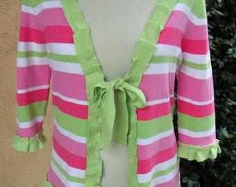 SALE-Women's Upcycled Medium Cotton Cardigan- Spring Stripe