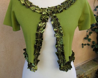 Women's Upcycled Small Bolero Sweater Caplet- Brocade