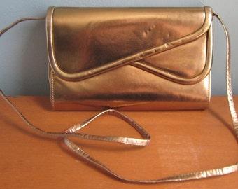 Bronze, 1980s, Crossbody Purse, Envelope Clutch, Shoulder Bag, Copper, Brass, Shiny, Formal, Purse, Clutch, Foldover Clutch