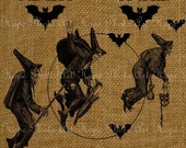 Flight of the Witches Halloween Digital Collage Sheet Image Transfer Printable iron tote bags t-shirts pillows home décor U Print 300jpg