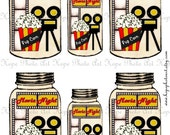 Movie Night Popcorn Mason Jar Gift Tags Digital Collage Sheet backgrounds ATC ACEO gift tags greeting cards - U Print JPG format 300dpi