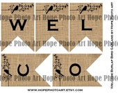 Welcome Bird Burlap Digital Collage Sheet Banner 3x4.5 Printable Party Supplies home decor pennant flags decoration bunting - UPrint 300jpg