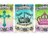 Easter Royal Crowns Vintage Cross 2x3 tags Digital Collage Sheet ATC ACEO postcard greeting cards stationary - U print 300dpi jpg
