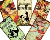 Vintage Gypsy Fortune Teller Halloween Digital Collage Sheet- 1x2 dominos pendants tags glass tile jewelry supplies - U-print 300jpg