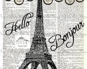 Bonjour Dictionary Digital Collage Sheet eiffel tower paris image transfer burlap bonjour french burlap canvas tote UPrint 300jpg
