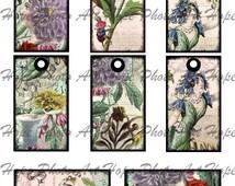 Les Fleurs Vintage French Digital Collage Sheet 2x3 tags - ATC ACEO greeting cards hang tags  - U print  300dpi jpg