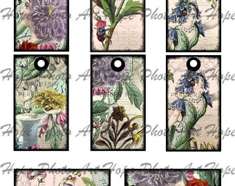 Les Fleurs Vintage French Digital Collage Sheet 2x3 tags - ATC ACEO greeting cards hang tags  - U print  300dpi jpg