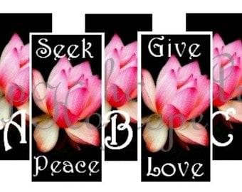 Pink Lotus Flower 1x2 Monograms Digital Collage Sheet words domino pendant jewelry supplies - U Print 300dpi jpg