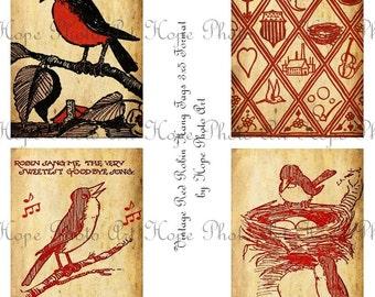 Red Robin Tweety Birds 3x5 Aged Stained Vintage Tags Digital Collage Sheet birdnest ATC ACEO postcard greeting cards U Print 300dpi jpg