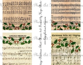 Le Noel Christmas Sheet Music 3x5 Digital Collage Sheet Image Transfer french bells angels tags greeting cards Uprint 300jpg