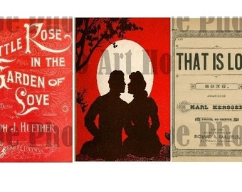 That is LoVe Vintage 2x3 Digital Collage Sheet Valentine love hearts rose angel Atc Aceo tags postcard greeting cards UPrint 300jpg