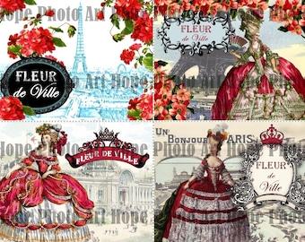 Marie Antoinette Fleur De Ville Digital Collage Sheet postcard image transfer Eiffel Tower Paris French tags ATC ACEO greeting UPrint 300jpg
